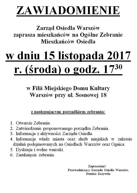 Zarząd Osiedla Warszów zaprasza mieszkańców na zebranie