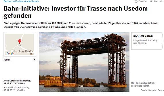 Inwestor z Lipska zainteresowany odbudową linii kolejowej z Ducherow do Świnoujścia!