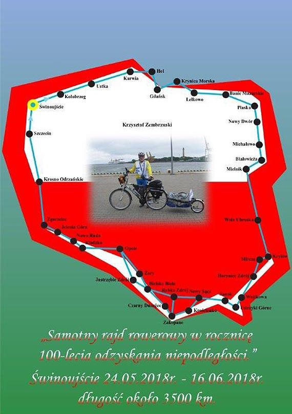 Samotny rajd rowerowy p. Krzysztofa Zembrzuskiego z okazji 100 lecia odzyskania niepodległości
