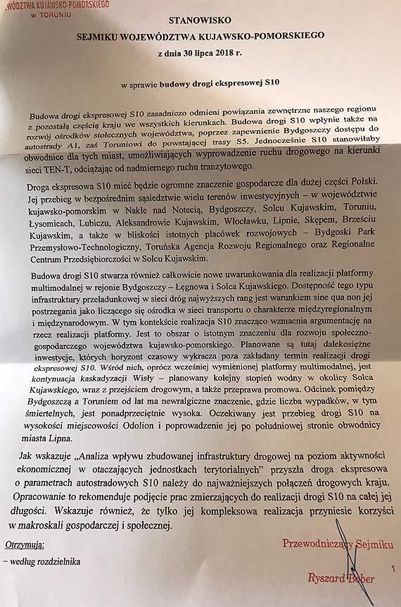 Kujawsko - Pomorskie popiera budowę S10 od Szczecina do Warszawy