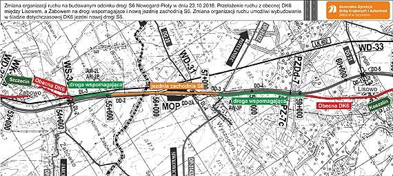 Zmiana organizacji ruchu między Lisowem, a Żabowem na odcinku S6 Nowogard-Płoty