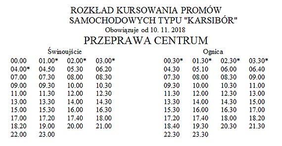 """Rozkład kursowania promów samochodowych typu """"Karsibór"""" Obowiązuje od 10.11.2018"""