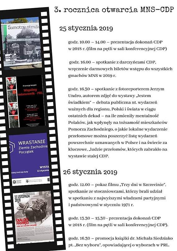 3. rocznica otwarcia Muzeum Narodowego  w Szczecinie – Centrum Dialogu Przełomy