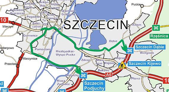 Zwężenie na węźle Szczecin Kijewo