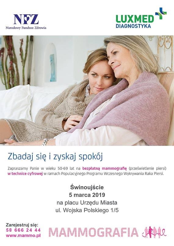 Mobilna pracownia mammograficzna LUX MED - bezpłatne badania mammograficzne dla kobiet w wieku 50-69 lat w marcu - Świnoujście