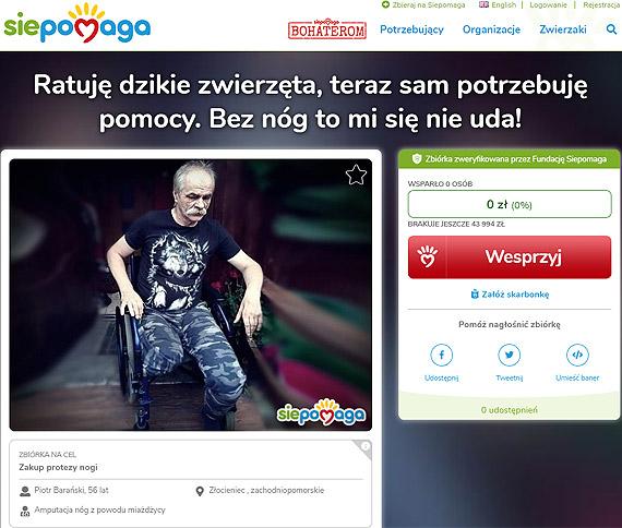 Ruszyła zbiórka pieniędzy na zakup protezy nogi dla Pana Piotra Barańskiego! Liczy się każdy grosz