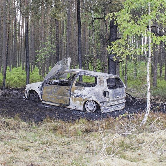 Płonął samochód i ściółka leśna wokół niego